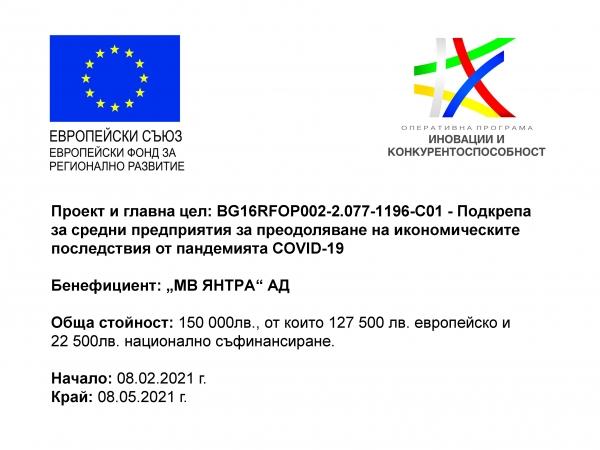 """""""Подкрепа за средни предприятия за преодоляване на икономическите последствия от пандемията COVID-19"""""""